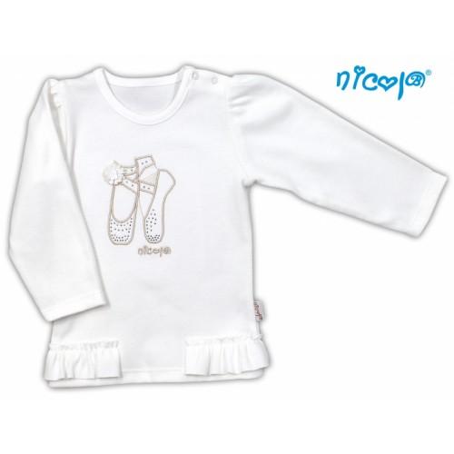Bavlnené tričko/blúzka NICOL BALETKA dlhý rukáv - smotanová - 92 (18-24m)