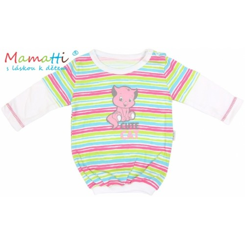 Blúzka / tričko dlhý rukáv Mamatti CAT - biele/farebné pružky - 86 (12-18m)